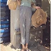 Mujer Sencillo Tiro Medio Microelástico Chinos Pantalones,Delgado Bloques