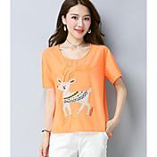 Mujer Tejido Oriental Noche Casual/Diario Verano Camiseta,Escote Redondo Bordado Manga Corta Lino Fino
