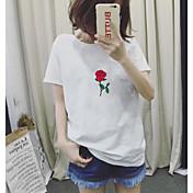 レディース お出かけ Tシャツ,ヴィンテージ シンプル ラウンドネック ソリッド 刺繍 コットン 半袖