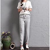 Mujer Casual Tiro Alto Microelástico Delgado Chinos Pantalones,Un Color Primavera Verano