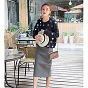 Mujer Regular Pullover Casual/Diario Un Color Escote Redondo Manga Larga Algodón Primavera Invierno Medio Microelástico