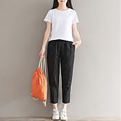 Mujer Casual Tiro Medio Rígido Pantalones Harén Chinos Pantalones,Un Color Verano