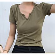 レディース カジュアル/普段着 Tシャツ,シンプル ハートカット ソリッド コットン 半袖