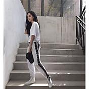 Mujer Casual Activo Tiro Medio Rígido Corte Ancho Chinos Pantalones,Un Color A Rayas Algodón Otoño