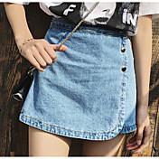 Mujer Casual Tiro Alto Microelástico Delgado Chinos Pantalones,Un Color Verano