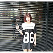 Mujer Bonito Noche Camiseta,Escote Redondo Estampado Manga Corta Algodón