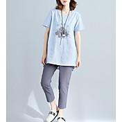 レディース カジュアル/普段着 夏 Tシャツ,キュート ラウンドネック プリント コットン 半袖