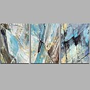 Pintada a mano Abstracto Contemporáneo Simple Tres Paneles Lienzos Pintura al óleo pintada a colgar For Decoración hogareña