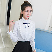 Mujer Chic de Calle Casual/Diario Camisa,Escote Chino Un Color Manga Larga Algodón