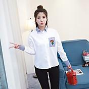 Mujer Bonito Activo Ropa Cotidiana Camisa,Cuello Camisero Un Color Floral Manga Larga Algodón