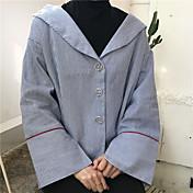 Mujer Bonito Casual/Diario Camisa,Escote en Pico A Rayas Manga Larga Algodón