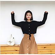 Mujer Corto Pullover Casual/Diario Un Color Escote Redondo Manga Larga Otro Otoño Medio strenchy