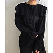 Mujer Vintage Casual/Diario Camisa,Cuello Barco Un Color Manga Larga Lino