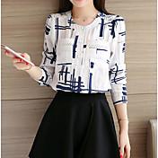 Mujer Bonito Casual/Diario Camisa,Escote Redondo Estampado Manga Larga Nailon