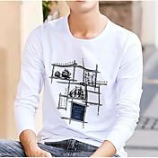 Hombre Chic de Calle Casual/Diario Camiseta,Escote Redondo Un Color Manga Larga Algodón