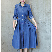 Mujer Vaqueros Vestido Casual/Diario Simple,Un Color Cuello Camisero Midi Manga Larga Poliéster Verano Tiro Medio Rígido Fino