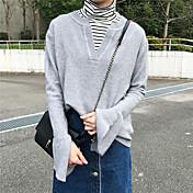 Mujer Regular Pullover Casual/Diario Un Color Escote en Pico Manga Larga Acrílico Medio Microelástico