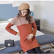 Mujer Vaina Vestido Casual/Diario Simple,A Rayas Escote Redondo Sobre la rodilla Manga Larga Algodón Media cintura Microelástico Medio