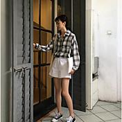 女性用 プリント シャツ シャツカラー ポリエステル