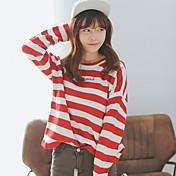 Mujer Manga Larga Pullover - Un Color A Rayas