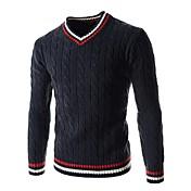 Hombre Regular Pullover Casual/Diario Simple,Un Color Bloques Escote en Pico Manga Larga Algodón Invierno Primavera/Otoño Medio