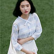 Mujer Bonito Noche Camisa,Escote en Pico Un Color Manga 3/4 Algodón Acrílico