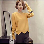 Mujer Regular Pullover Casual/Diario Un Color Escote Redondo Manga Larga Lana Poliéster Otoño Medio Microelástico