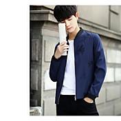 メンズ カジュアル/普段着 秋 ジャケット,シンプル プリント レギュラー コットン 長袖