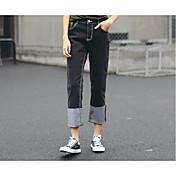 Mujer Casual Tiro Medio Microelástico Perneras anchas Pantalones,Un Color Otoño