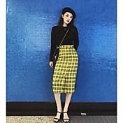 Mujer Simple Chic de Calle Casual/Diario Midi Faldas Otoño Estampado
