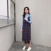 Mujer Recto Vestido Discoteca Sensual,Un Color Con Tirantes Midi Manga Larga Lana Tiro Medio Microelástico Grueso