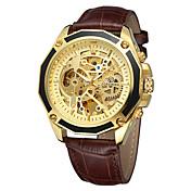 FORSINING Hombre Reloj Casual Reloj de Moda Reloj de Pulsera Cuerda Automática Cuero Auténtico Banda Casual Cool