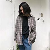 レディース カジュアル/普段着 シャツ,キュート シャツカラー カラーブロック コットン 長袖