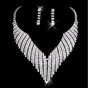 女性用 ドロップイヤリング ネックレス 結婚式 パーティー ラインストーン 合金