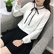 Mujer Activo Noche Camisa,Escote Chino Un Color Manga Larga Algodón Poliéster
