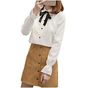 レディース カジュアル/普段着 Tシャツ,キュート シャツカラー ソリッド その他 長袖