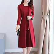 Mujer Corte Ancho Vestido Casual/Diario Simple,Un Color Escote Cuadrado Midi Manga Larga Poliéster Tiro Medio Microelástico Medio