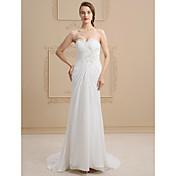 Funda / Columna Escote Corazón Larga Encaje Satén Vestido de novia con Cuentas Apliques En Cruz por Ed Bridal