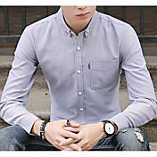 Hombre Chic de Calle Casual/Diario Camisa,Cuello Camisero Un Color Manga Larga Algodón Poliéster