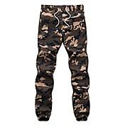 Hombre Casual Tiro Medio Microelástico Ajustado Pantalones,camuflaje Invierno Otoño
