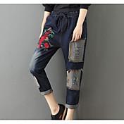 Mujer Boho Microelástico Chinos Pantalones,Floral