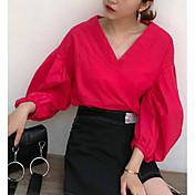 Mujer Bonito Casual/Diario Camisa,Escote en Pico Un Color Manga Larga Algodón
