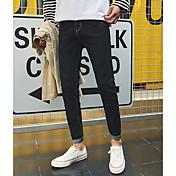 メンズ シンプル ミッドライズ パンツ マイクロエラスティック パンツ パンツ ソリッド