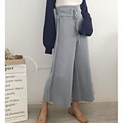 Mujer Simple Tiro Alto Microelástico Perneras anchas Pantalones,Perneras anchas Un Color