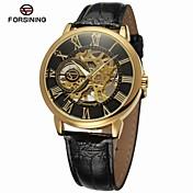 FORSINING Hombre Reloj de Moda Reloj de Vestir Reloj de Pulsera Cuerda Automática Huecograbado Piel Banda Lujo Vintage Casual Negro Marrón