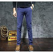 Hombre Simple Tiro Medio Microelástico Chinos Pantalones,Un Color Invierno Otoño