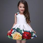 Vestido Chica de Diario Floral Poliéster Sin Mangas Verano Floral Blanco