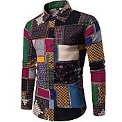 男性用 クラブ シャツ, ヴィンテージ アジアン・エスニック ボヘミアン スタンドカラー スリム フラワー コットン