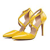 Mujer Zapatos PU Primavera / Verano Confort / Innovador Tacones Tacón Stiletto Dedo Puntiagudo Amarillo / Rosa / Nudo / Boda