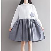 Mujer Línea A Vestido Noche Simple,Bloques Escote Cuadrado Sobre la rodilla Mangas 3/4 Algodón Primavera Otoño Tiro Medio Microelástico